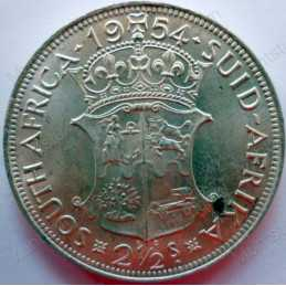 Two and Half Shillings, South Africa, 1954, Silver