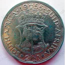 Two and Half Shillings, South Africa, 1955, Silver