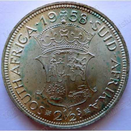 Two and Half Shillings, South Africa, 1958, Silver