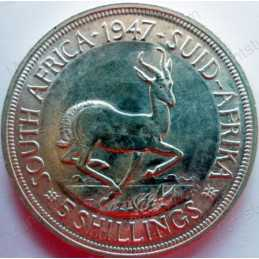 Five Shillings, South Africa, 1947, Silver