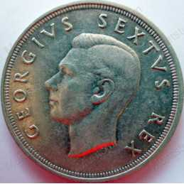 Five Shillings, South Africa, 1950, Silver
