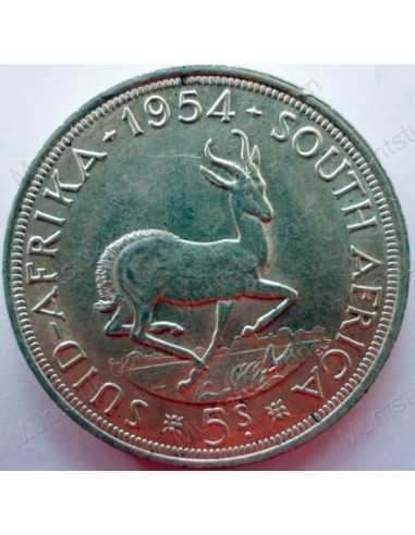 Five Shillings, South Africa, 1954, Silver