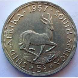 Five Shillings, South Africa, 1957, Silver