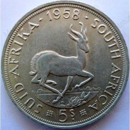 Five Shillings, South Africa, 1958, Silver