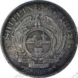 Five Shillings, Zuid-Afrikaansche Republiek, 1892, Double Shaft, Silver