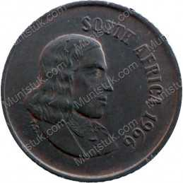One Cent(English), South Africa, 1966, Bronze