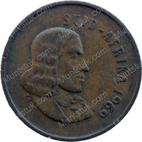 One Cent(Afrikaans), South Africa, 1969, Bronze