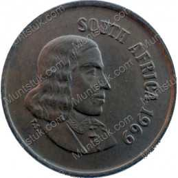One Cent(English), South Africa, 1969, Bronze