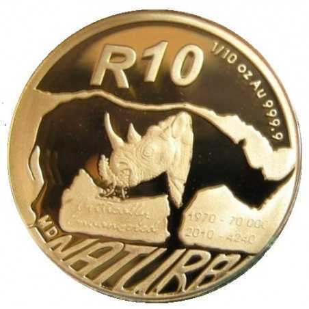 Safari through South Africa - The Black Rhinoceros 1/10 24 Carat gold