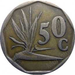 Fifty Cent, South Africa, 1990, Bronze plated Steel