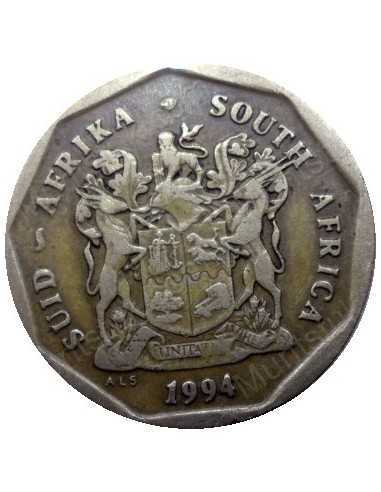 Fifty Cent, South Africa, 1994, Bronze plated Steel