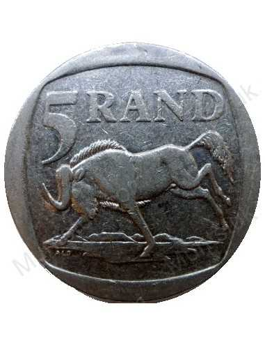 Five Rand, South Africa, 1997, Nickel plated Copper