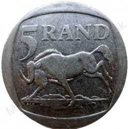 Five Rand, South Africa, 1995, Nickel plated Copper