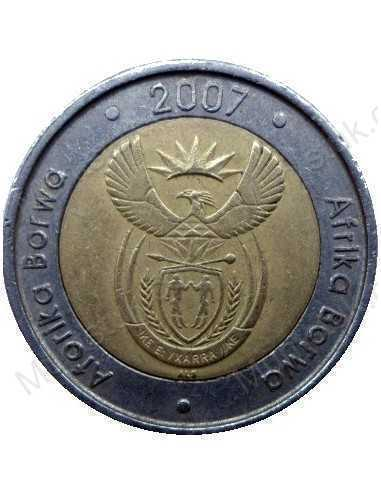 Five Rand, South Africa, 2007, Bimetal