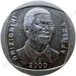 Five Rand, South Africa, 2000, Mandela, Nickel plated Copper