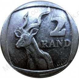 Two Rand, South Africa, 1989, Nickel plated Copper
