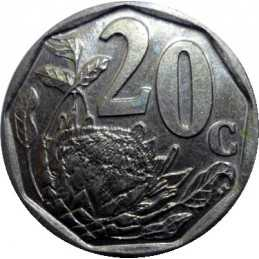 Twenty Cent, South Africa, 1997, Bronze plated Steel