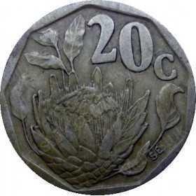 Twenty Cent, South Africa, 1991, Bronze plated Steel