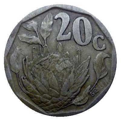 Twenty Cent, South Africa, 1990, Bronze plated Steel