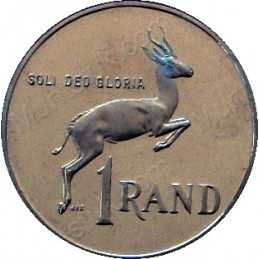 One Rand(Afrikaans), reverse, South Africa, 1966, Silver