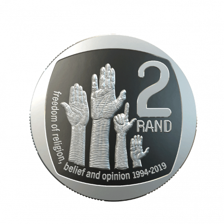 Two Rand, South Africa, 2019 Freedom of Religion, Belief and Opinion Reverse