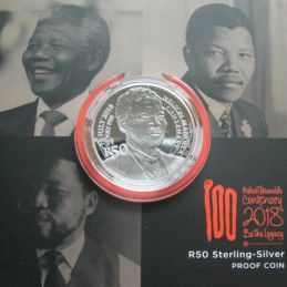Fifty Rand, South Africa, 2018, Mandela - The Statesman, Silver