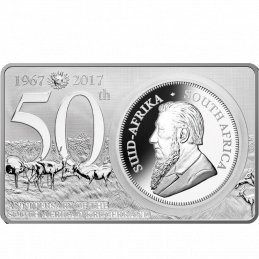 Krugerrand, South Africa, 2017, (50th Anniversary of the Krugerrand - Silver)