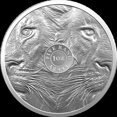 1oz South Africa, Big Five Lion, 2019, Silver, Reverse