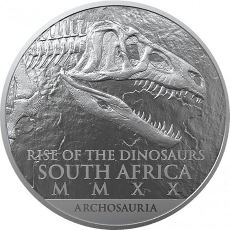 1oz South Africa, Natura Coelophysis, 2019, Silver, Obverse