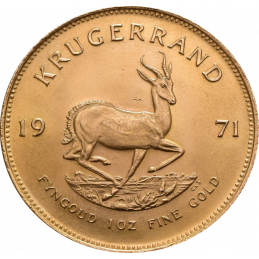 1oz Krugerrand, South Africa, 1971, Gold, Reverse