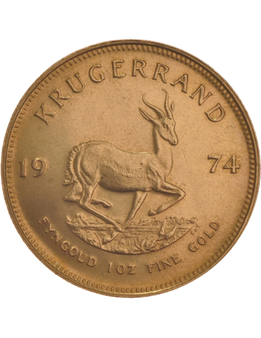 1oz Krugerrand, South Africa, 1974, Gold, Reverse