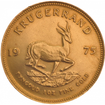 1oz Krugerrand, South Africa, 1975, Gold, Reverse