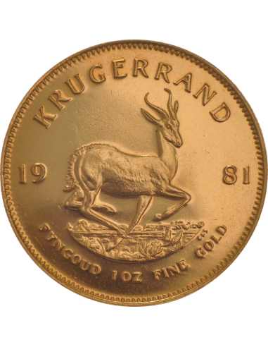 1oz Krugerrand, South Africa, 1981, Gold, Reverse