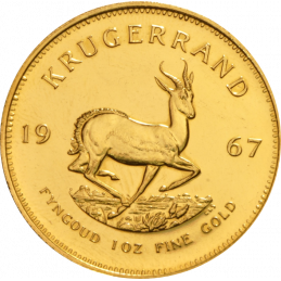1oz Krugerrand, South Africa, 1967, Gold, Reverse