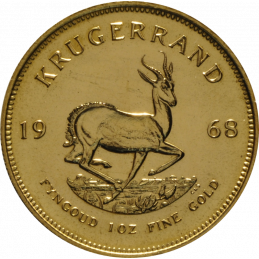 1oz Krugerrand, South Africa, 1968, Gold, Reverse