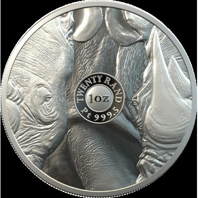 1oz R20, South Africa, 2020, Platinum, Big 5 - Rhino, Obverse