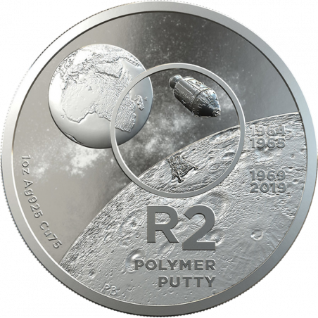 2019, South Africa , R2, Silver, Proof - Moon Landing, Obverse