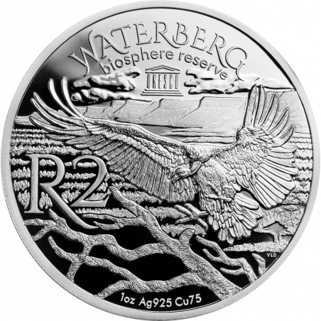 2018, South Africa , R2, Silver, Proof - Cape Griffon, Reverse