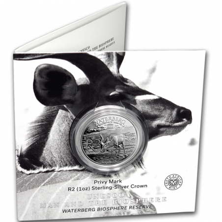 2018, South Africa , R2, Silver, Proof - Kudu, cover