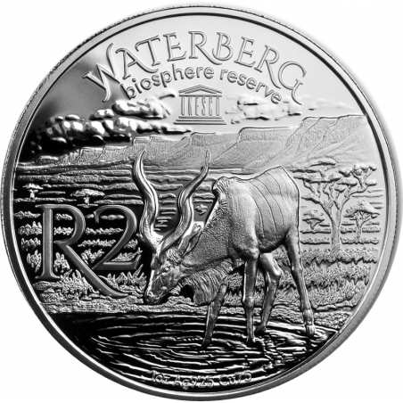 2018, South Africa , R2, Silver, Proof - Kudu, reverse