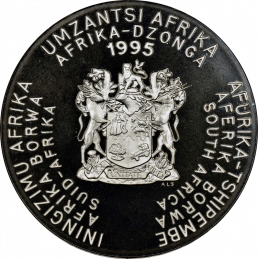 2 Rand, South Africa, 1995, Silver, Proof - United Nations, Obverse