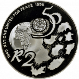 2 Rand, South Africa, 1995, Silver, Proof - United Nations, Reverse