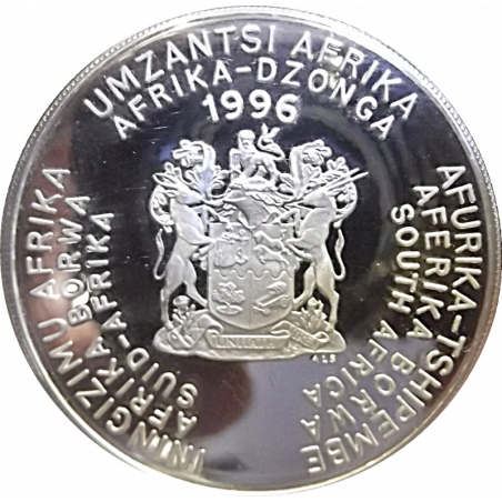 2 Rand, South Africa, 1996, Silver, Proof, Obverse - African Cup of Nations