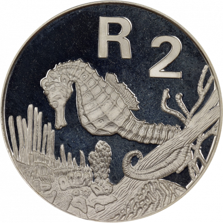 2 Rand, South Africa, 1997, Silver, Reverse, Proof - Sea Horse