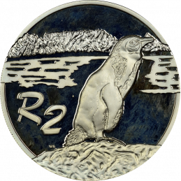 2 Rand, South Africa, 1998, Silver, Reverse, Proof - Jackass Penguin