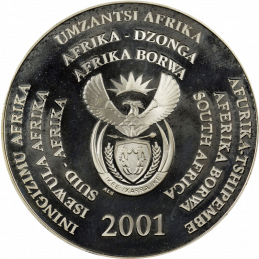 2 Rand, South Africa, 2001, Silver, Obverse, Proof - Dolphin