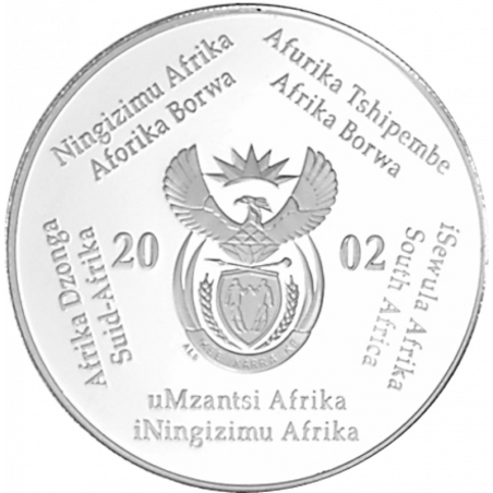 2 Rand, South Africa, 2002, Silver, Obverse, Proof - Whales