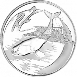 2 Rand, South Africa, 2002, Silver, Reverse, Proof - Whales