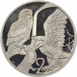 2 Rand, South Africa, 2003, Silver, Reverse, Proof - Eagles