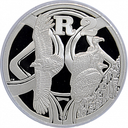 2 Rand, South Africa, 2005, Silver, Reverse, Proof - Vultures